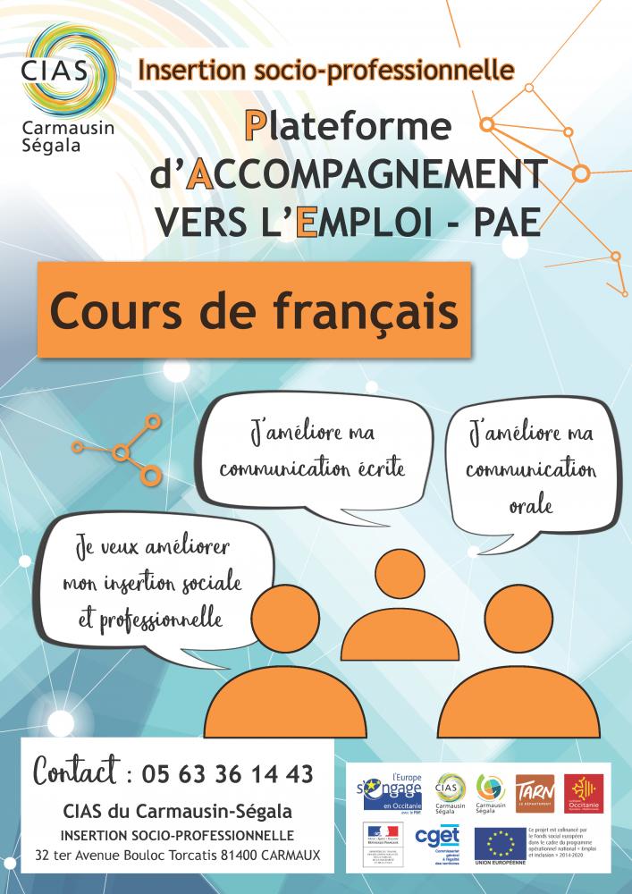 Affiche CIAS insertion socio-professionnel cours de français