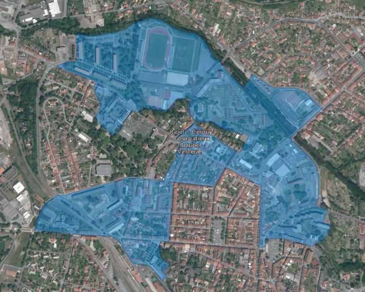Périmètre du quartier Politique de la Ville « Rajol-Cérou-Gourgatieu-Bouloc-Verrerie » - Communauté de communes Carmausin-Ségala